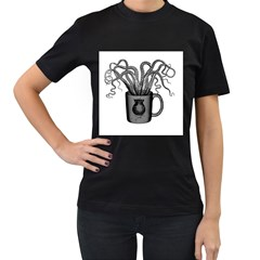 A Cup of Octopus Womens' T-shirt (Black)