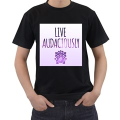 LIVING AUDACIOUSLY Mens' Two Sided T-shirt (Black)