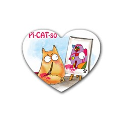 PookieCat - Picatso  Drink Coasters 4 Pack (Heart)
