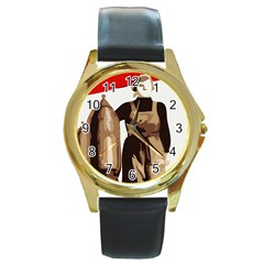 Power  To The Masses Round Gold Metal Watch