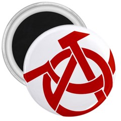 Hammer Sickle Anarchy 3  Button Magnet