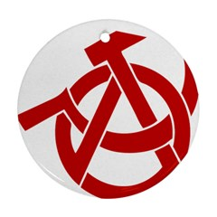 Hammer Sickle Anarchy Round Ornament