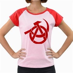 Hammer Sickle Anarchy Women s Cap Sleeve T-Shirt (Colored)