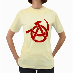 Hammer Sickle Anarchy  Womens  T Shirt (yellow)