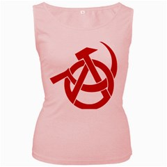 Hammer Sickle Anarchy Womens  Tank Top (Pink)