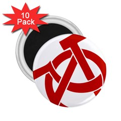 Hammer Sickle Anarchy 2 25  Button Magnet (10 Pack)