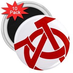 Hammer Sickle Anarchy 3  Button Magnet (10 pack)