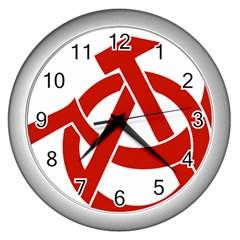 Hammer Sickle Anarchy Wall Clock (silver)