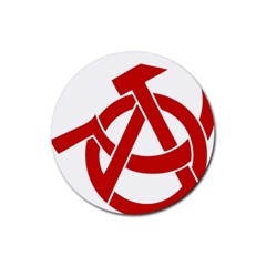 Hammer Sickle Anarchy Drink Coaster (round)