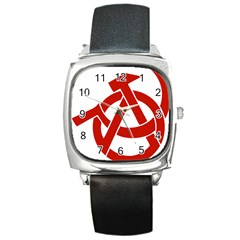 Hammer Sickle Anarchy Square Leather Watch