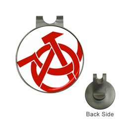 Hammer Sickle Anarchy Hat Clip With Golf Ball Marker