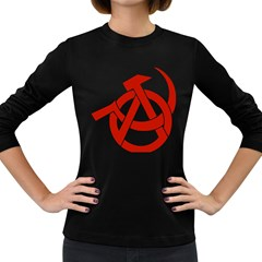 Hammer Sickle Anarchy Womens' Long Sleeve T-shirt (Dark Colored)