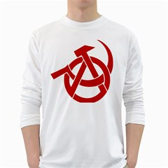 Hammer Sickle Anarchy Mens' Long Sleeve T Shirt (white)
