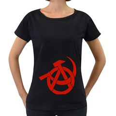 Hammer Sickle Anarchy Womens' Maternity T-shirt (Black)