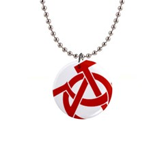 Hammer Sickle Anarchy Button Necklace