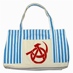 Hammer Sickle Anarchy Blue Striped Tote Bag
