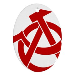 Hammer Sickle Anarchy Oval Ornament (Two Sides)