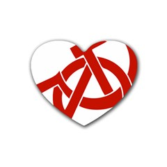 Hammer Sickle Anarchy Drink Coasters 4 Pack (Heart)