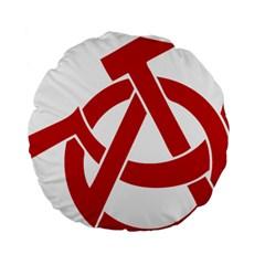 Hammer Sickle Anarchy 15  Premium Round Cushion