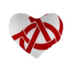 Hammer Sickle Anarchy 16  Premium Heart Shape Cushion