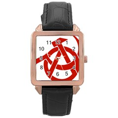 Hammer Sickle Anarchy Rose Gold Leather Watch