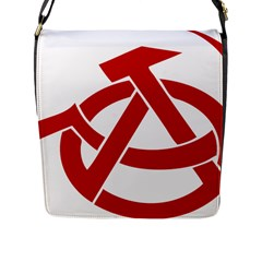 Hammer Sickle Anarchy Flap Closure Messenger Bag (large)