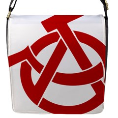 Hammer Sickle Anarchy Flap Closure Messenger Bag (small)