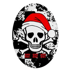 Skull Santa Oval Ornament (two Sides)