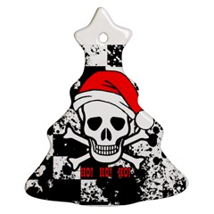 Skull Santa Christmas Tree Ornament (Two Sides)