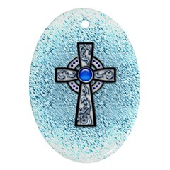 Cross Oval Ornament