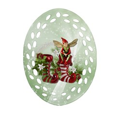 Feeling Elfy Oval Filigree Ornament (two Sides)