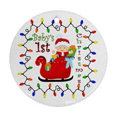Baby s 1st Christmas Round Ornament (two Sides)