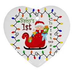 Baby s 1st Christmas Heart Ornament (Two Sides)