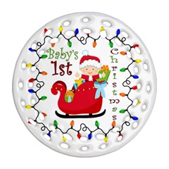 Baby s 1st Christmas Round Filigree Ornament (Two Sides)