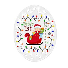 Baby s 1st Christmas Ornament (Oval Filigree)