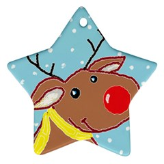 Red Nosey Star Ornament (two Sides)
