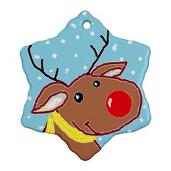 Red Nosey Snowflake Ornament (two Sides)