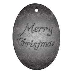 Metal Merry Christmas Oval Ornament (Two Sides)