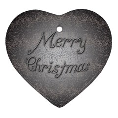 Metal Merry Christmas Heart Ornament (Two Sides)