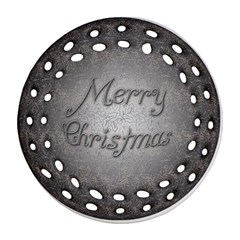 Metal Merry Christmas Round Filigree Ornament