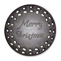 Metal Merry Christmas Round Filigree Ornament (Two Sides)
