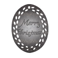 Metal Merry Christmas Ornament (oval Filigree)