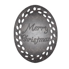 Metal Merry Christmas Oval Filigree Ornament (two Sides)