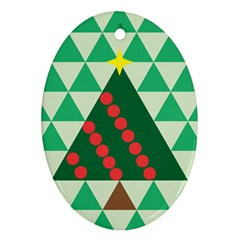 Holiday Triangles Oval Ornament (two Sides)