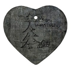 Concrete Christmas Heart Ornament (two Sides)