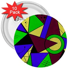 Modern 3  Button (10 Pack)