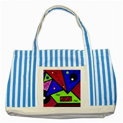 Modern Art Blue Striped Tote Bag