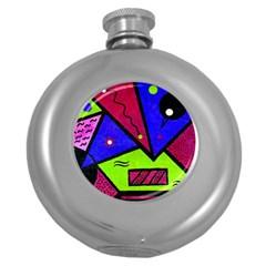 Modern Art Hip Flask (Round)
