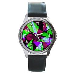 Modern Art Round Metal Watch (silver Rim)