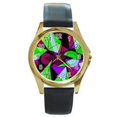 Modern Art Round Metal Watch (gold Rim)